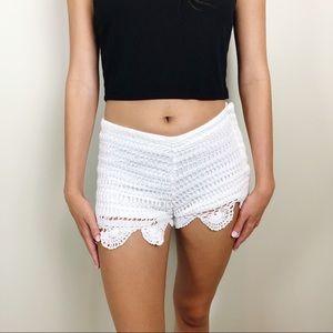 Lovers + Friends Crochet Scallop Trim Shorts